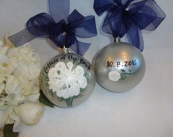WEDDING ORNAMENT, Wedding Ornament Personalized, Mother of the Bride Gifts, Bridesmaid Ornaments, Bridal Party Ornamnet, Mother Wedding Gift