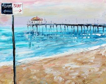 Original oil painting Surf and Swim beach Pier seascape palette knife modern texture fine art impressionism by Karen Tarlton