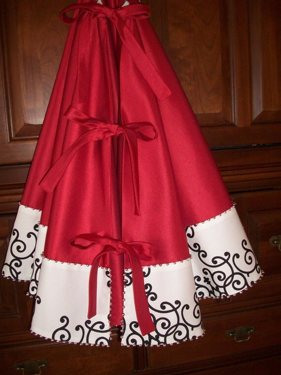 SALE SALE AMAZING 58 Christmas Red Heavy Satin and White
