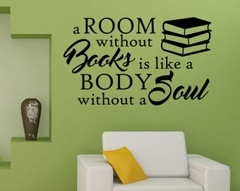 a room without books quote vinyl wall lettering vinyl wall decals vinyl lettering vinyl letters wall quotes library decor