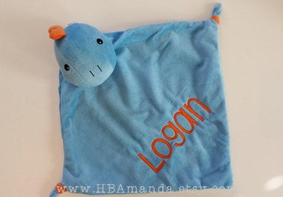 Blue Dinosaur Lovie Blanket - Monogrammed Dino Blankie