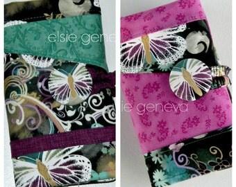 Butterflies Crochet Hook or Cosmetic Case Organizer Polymer Amour Soft Grip Tunisian Black Gray Purple Aqua