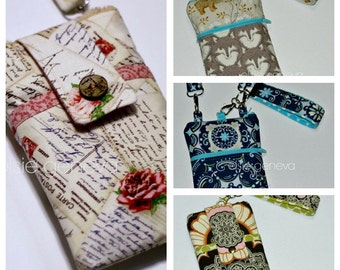 Phone Case Purse Choose Any Fabric Online or Camera Case with Shoulder Strap Back Zipper Pocket  Samsung iPhone 4 5 6 Plus Note