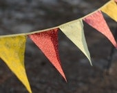 Bunting Yellow and Red Wall Hanging Decoration Calico Bunting Indoor Outdoor Bunting