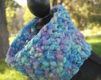 ON SALE Blue Knit Wool Cowl - Crochet Chunky Neckwarmer - Earwarmer - ON Sale