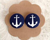 Anchor Button Earrings Nautical Earrings Navy Blue and White Summer Fashion Stud Earrings  Stainless Steel Earrings  4th of July