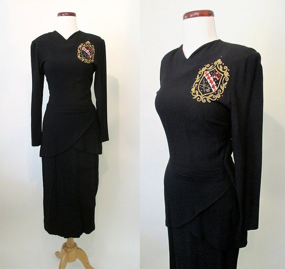 "Hollywood Glamour 1940's Cocktail / Party Dress with Chic Dramatic Applique by ""Original Marberl"" of California VLV Size Small"