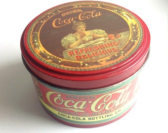 Vintage Coca Cola Tin, Drink Coca Cola Tin, Graphic Tin, Kitchen Storage Tin, Trinket Tin, Round Coca Cola Graphic Tin, Coke TM Container