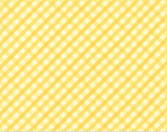 Yellow Gingham Fabric  - Acreage Gingham Sun - Shannon Gillman Orr for Moda 45507 13 - 1 Yard Cut BTY - Checkered Gingham Quilter's Cotton