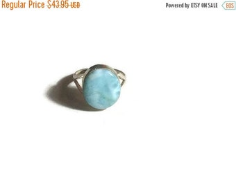 ON SALE Larimar Jewelry Larimar Ring Size 8 Sterling Silver 925 Fashion jewelry Blue Larimar jewelry
