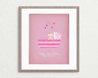 Baby Girl 8x10 Print - Customized Name / Date