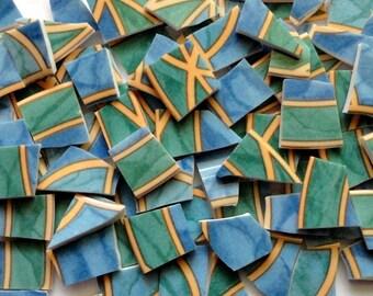 Green and Blue Mosaic Tiles// Broken Dish Tiles// Mosaic Supplies//Crafts