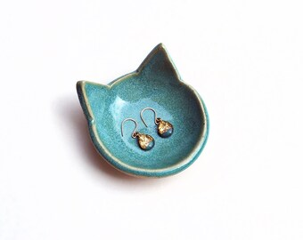 Turquoise Cat Ring Dish - Ceramic, Pottery - Aqua Cat - Tea Bag Rest, Jewelry Dish, Ring Holder, Cat Dish - Gifts for Cat Lovers