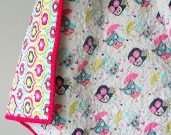 Modern Baby Quilt, Nursery Bedding, Owls, Reversible Quilt, Baby Girl Quilt, Aqua and pink, Handmade Quilt