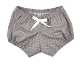 Swiss Dot Bloomer, Baby Girl bloomer, shorts, baby girl shorts, gray, white polka dots | Sizes Newborn to 24 Months