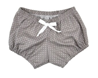 Bloomers | Gray Swiss Dot | Sizes Newborn to 24 Months | Baby Girl bloomer, shorts, baby girl shorts, gray, white polka dots