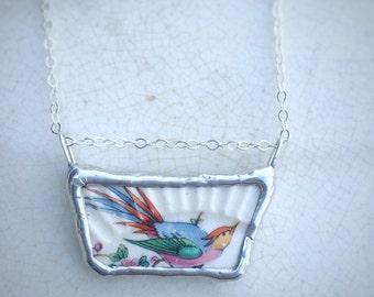 Vintage Colorful Bird Broken China Necklace