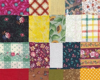 Fabric Precut 2 1/2 Inch Square Pieces - 35 Cotton Material 4 Charm Quilting - Scrapbooking - Mini Projects - Variety Pack B 33