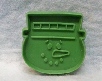 """Miniature Frosty Snowman Head Cookie Cutter ~  Hallmark Cookie Mold - Detailed Hard Plastic 2"""" Face Cut Out - Mint - Cookie Recipe"""