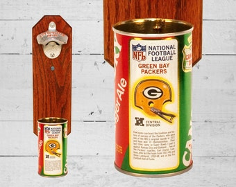 Packers Wall Mounted Bottle Opener with Vintage Green Bay Packers Canada Dry Pop Can Cap Catcher - Gift for Groomsmen