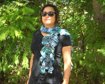 Washed Pale Blue Floral Ruched Scarf