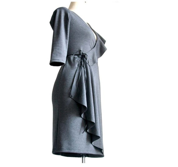 Asymmetric Wrap Dress, Grey dress, Deep V neck dress, Winter jersey dress, Womens clothing, Handmade casual, formal day dress, Ruffle dress