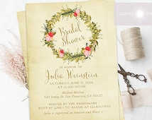 Rustic Bridal Shower, Bridal Shower, Printable Invite, Shower Invitation, Invite, Distressed Invite, Wreath Invite, DIY, jadorepaperie