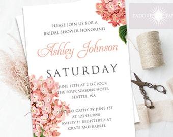 Hydrangea Bridal Shower Invitation, Bridal Shower Invite, Coral, Pink, Printable Bridal Shower Invitation, DIY Printable, jadorepaperie