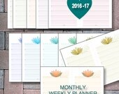 2016, 2017 Printable Calendar Half-Page Planner Instant Download Monthly Bookmark Perpetual Weekly Calendar PDFs Filofax Refill