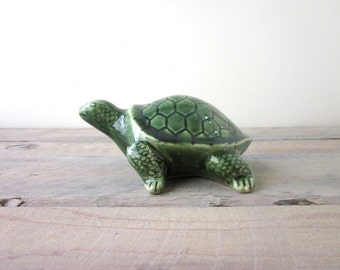 Vintage Green Turtle Figurine