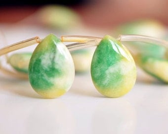 SALE! Candy Jade Teardrop Beads 16mm Green Yellow-(HY06-2)/ 15pcs
