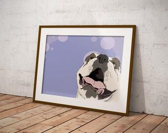 Bulldog Derp Face Dog Print 8 by 10