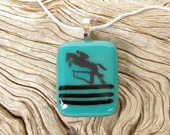 Teal Fused Glass Pendant - Jumping Horse Black Decal - Necklace - Fused Glass Jewelry - Horse Jewelry - Equine - Blue Green