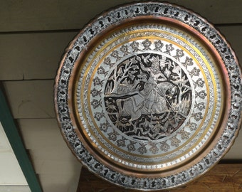 Vintage St. George slaying the dragon etched stamped relief large plate tray table top