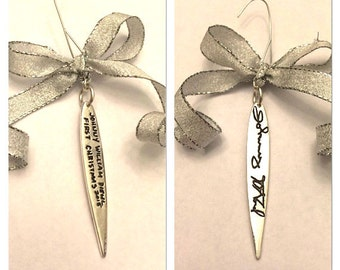 Christmas Ornament in your own handwriting - Double sided Silver message or signature decoration