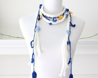 Crochet Ivory, Royal Blue, Yellow Lariat Scarf, Scarflette