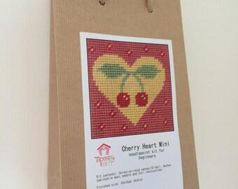 DIY beginner's needlepoint kit, cross stitch kit, tapestry kit, Cherry Heart Mini, Valentines