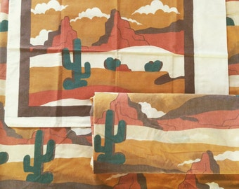 Vintage 70s southwestern CACTUS twin sheets with pillow case / fitted and flat set