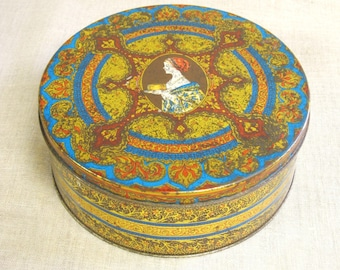 Vintage Cookie Tin, Biscuit, Hostess, Fruit Cake, Metal Canister, Storage, Organization, Round Metal Box, Containers,Food Storage,Sewing Box