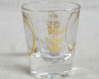 Vintage Mid-Century Shot Glass, Bar Ware, Liquor Measure, Serving, Leaf Pattern Design, Leaf Motif, Gold Accent, Bar Service, Entertaining