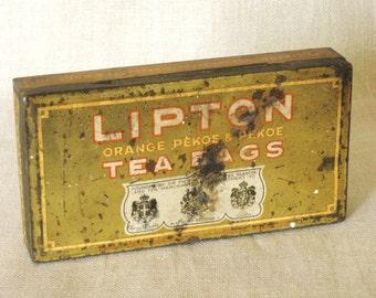 Tea Tin , Antique Tins , Metal Box , Storage , Organization , Tea Box , Canister , Lipton Tea , Antique Metal Box , Boxes , Storage Box, Tin