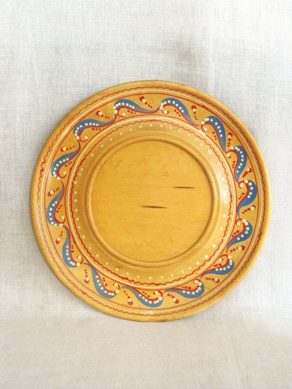 Vintage Hand Painted Wooden Plate, Charger, Large, Souvenir, Collectible, Scandinavian Folk Art Style, Wall Decor, Decorative, Platter