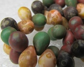 Czech Glass Teardrop Beads 6 x 4mm Smooth Matte Speckled Earth Tone Medley  - 50 Pieces