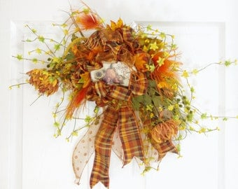 Fall Swag * Fall Wreath * Fall Decor * Autumn Swag * Autumn Wreath * Thanksgiving Swag * Thanksgiving Wreath * Orange Swag * Orange Wreath