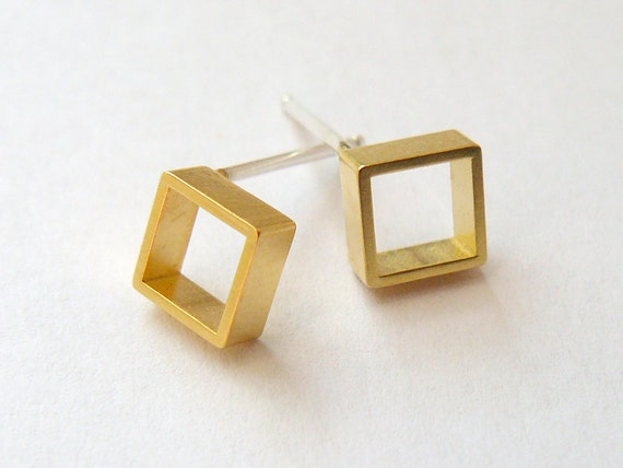 Gold Square Stud Earrings - Geometric Jewelry - Tiny Gold Earings - Small Everyday Studs - Shape Earrings - Ready to Ship - by Hook&Matter