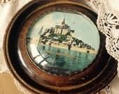 Vintage antique old frame - round wooden frame -  home decor- France - Europe - mnt st michel - circle - glass frame - kitsch