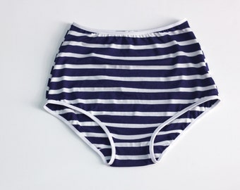 Nautical High waist hipster panties / Striped underwear