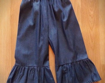 Ruffled Chambray Pant