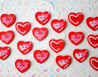 10 pcs wood buttons - valentines day - gift wrapping - craft supplies - sewing and scrapbooking - 3 cm x 2.7 cm - ready to ship