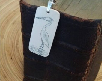 Scrimshaw Bookmark Blue Heron OOAK Great Gift Idea